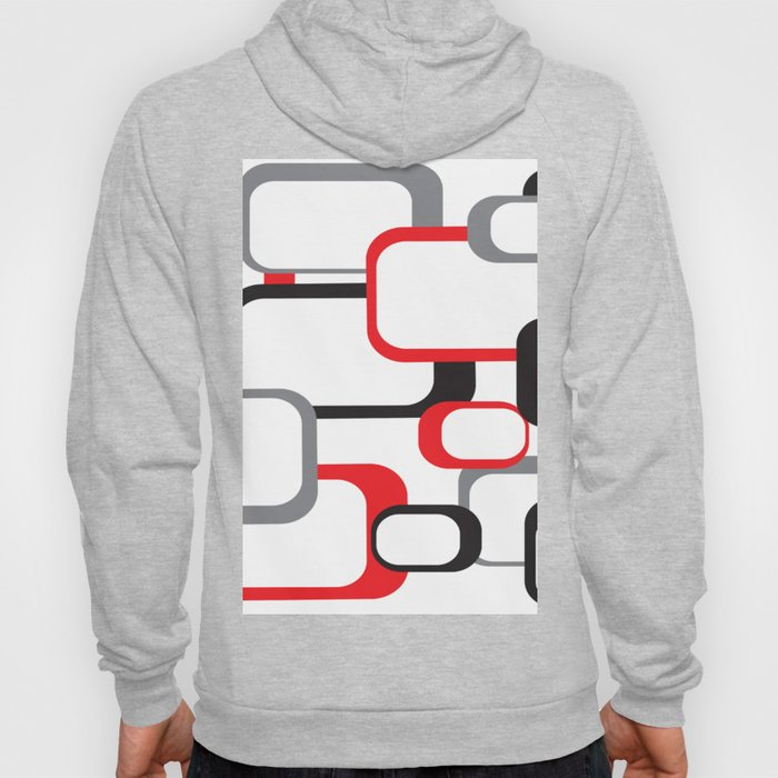 Red Black Gray Retro Square Pattern White Hoody