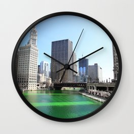 Chicago River Green for St. Patrick's Day Wall Clock