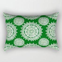 Emerald Green and Silver Patterned Mandalas Rectangular Pillow