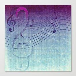 Aqua Purple Ombre Music Notes Canvas Print