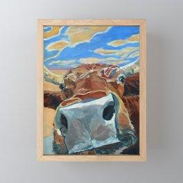 The Boy Down the Street Cow Portrait Framed Mini Art Print