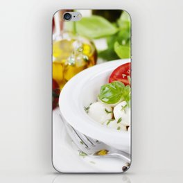 mozzarella with fresh basil, olive oil, garlic and tomatoes iPhone Skin