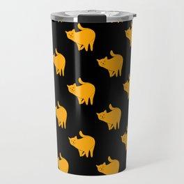 Cute Yellow Cats Pattern | Black Travel Mug