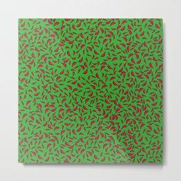 Paprika on Green Metal Print