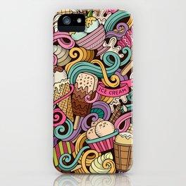 Ice cream doodles seamless pattern iPhone Case