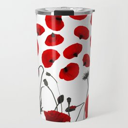 Modern Black and Red Flowers and Petals Travel Mug