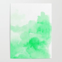 Hand painted modern neon green watercolor Poster