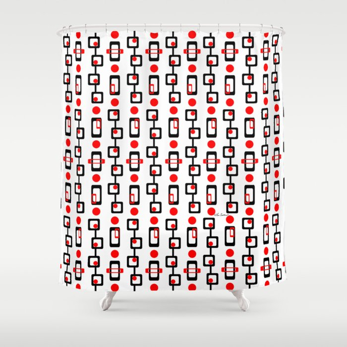 Circles Squares Black Red White Shower Curtain