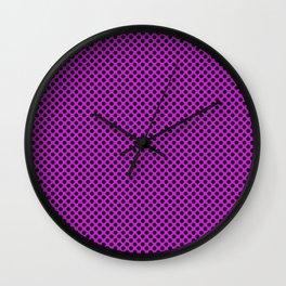 Dazzling Violet and Black Polka Dots Wall Clock