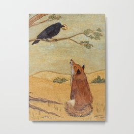 Fox and Crow, Aesop's Fable Illustration in the style of Arthur Rackham and Howard Pyle Metal Print