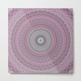 Bohemian Mauve Grey Mandala Metal Print