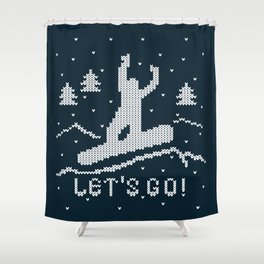 Let's go Snowboarding! Shower Curtain