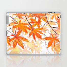 orange maple leaves watercolor Laptop & iPad Skin