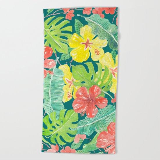 Tropical garden, hibiscus plumeria and palm leaves Beach Towel