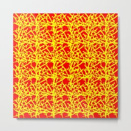 Royal pattern of yellow squiggles and red ropes on a monochrome background. Metal Print