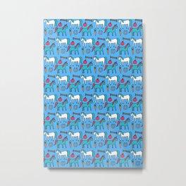 Horses- Blue Palette Metal Print