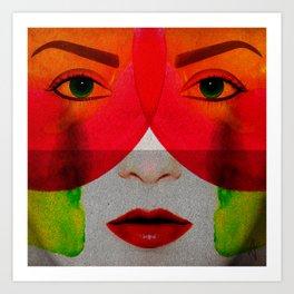 Face Me - Female Contemporary Portrait in colour Art Print
