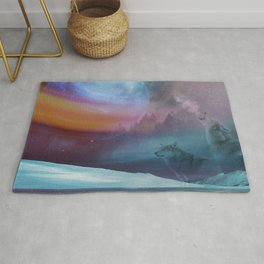 Howling at the moon Rug