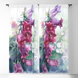 Campanula watercolor flowers aquarelle bellflowers Blackout Curtain