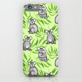 Koala Pattern Charitable Art (Green Background) iPhone Case