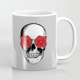 Skull and Roses | Grey and Red Coffee Mug