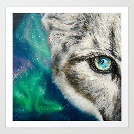 Mountain Lion with Aurora Borealis Art Print