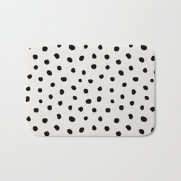 Modern Polka Dots Black on Light Gray Bath Mat