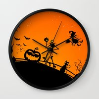 jack skellington Wall Clocks featuring Halloween Jack Skellington  by Raisya