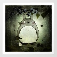 Totoro in the rain Art Print