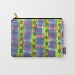 Purple Square Rows with Fluorescent Green Strips Carry-All Pouch