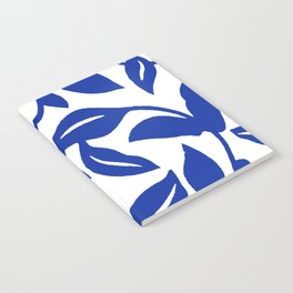 PALM LEAF VINE SWIRL BLUE AND WHITE PATTERN Notebook