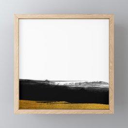 Black and Gold grunge stripes on clear white background - Stripe - Striped Framed Mini Art Print