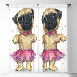 Pug in a Tutu Cute Animal Whimsical Dog Portrait Blackout Curtain