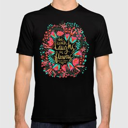 The Earth Laughs in Flowers – Pink & Gold T-shirt