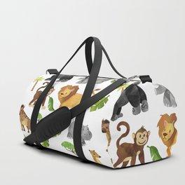 Safari Animals Pattern Watercolor Duffle Bag