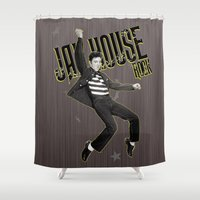 elvis presley Shower Curtains featuring Elvis Presley / Jailhouse Rock by Gold Blood