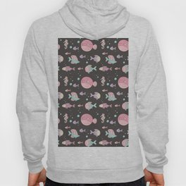 Modern hand painted pink teal lavender nautical fishes Hoody