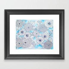 Floral Doodle in Blue Framed Art Print