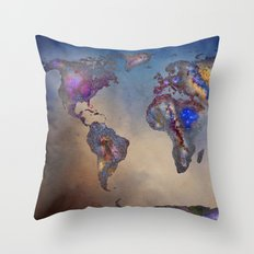 Stars world map. Blue Throw Pillow