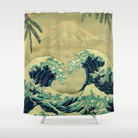 asian Shower Curtains featuring The Great Blue Embrace at Yama by Kijiermono