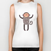 monkey Biker Tanks featuring Monkey by Anna Alekseeva kostolom3000