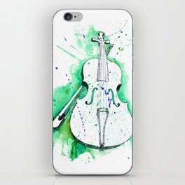 Water Color Violin (Teal) iPhone Skin