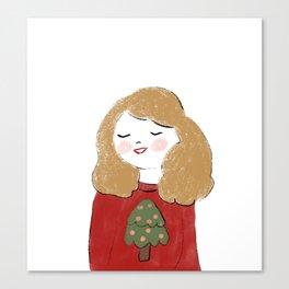 The girl waiting for christmas Canvas Print