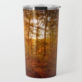 Autumn Sunset Through the Trees Rural Landscape Photo Farmhouse Art Travel Mug