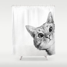 sneaky cat Shower Curtain