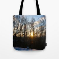 rileigh smirl Tote Bags featuring Snowy Sunset by Rileigh Smirl