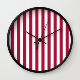 Crimson and White Even Vertical Stripes Wall Clock