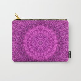 Sunflower Peacock Feather Bohemian Pattern \\ Aesthetic Vintage \\  Bright Fuchsia Pink Color Scheme Carry-All Pouch