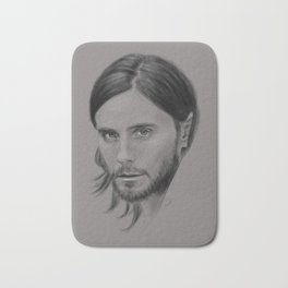 Jared Leto Digital Portrait grey LLFD Bath Mat