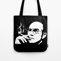 hunter s thompson Tote Bags featuring Hunter S. Thompson by Spyck